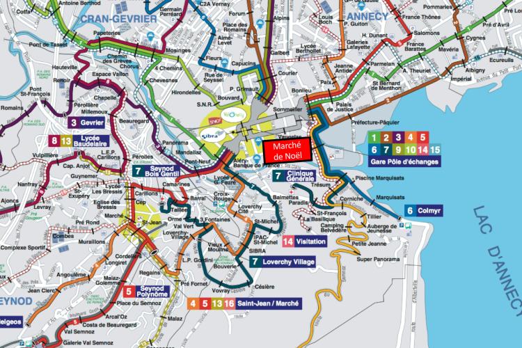 Comment se rendre au marché de Noël d'Annecy - Plan bus